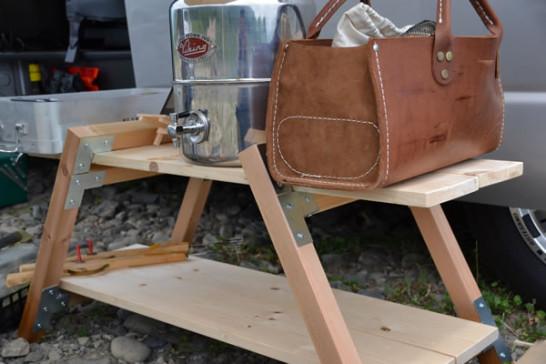 キャンプ 自作 木 棚