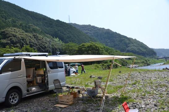 高知 キャンプ 新荘川 ハイエース 車中泊