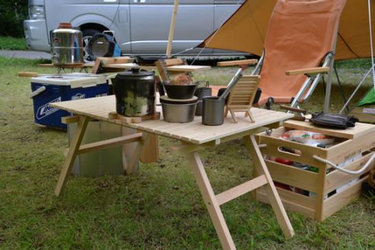 キャンプ テーブル 木 ひのき ヒノキ 桧 ウッドテーブル