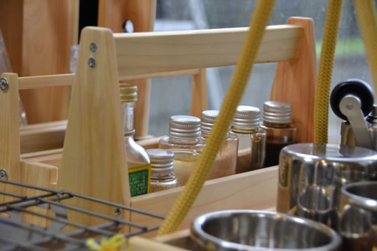 ひのき キャンプ道具 調味料入れ 自作 DIY