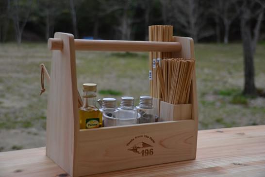 196 木製 キャンプ用品 調味料入れ