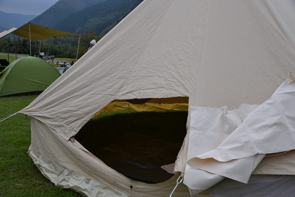 キャンプ コットンテント ベルテント シブレー シブレー500 スタンダード 薪ストーブ 炎上 修理 手縫い DIY