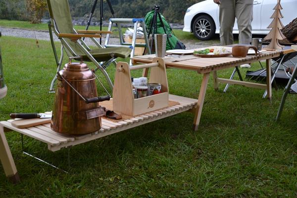 ウッドテーブル キャンプ テーブル 木製 ひのき サブテーブル