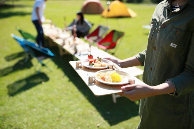 ふるさと納税 返礼品 アウトドア キャンプ テーブル 木製トレー ソトゼン SOTOZEN 紙皿 飛ばない トレー