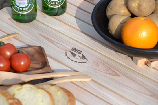 焼印 キャンプ 木 木製 テーブル ウッドテーブル 折りたたみ ロースタイル