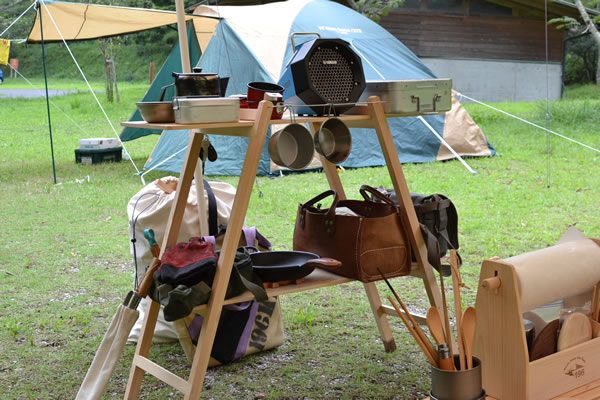 196 ダブルラック キャンプ 木製 棚