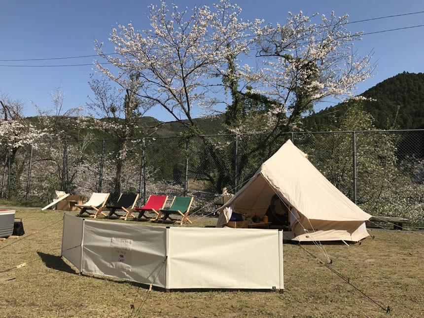 ほっと平山 花見 キャンプ 高知 キャンプファイヤー ピザ焼き