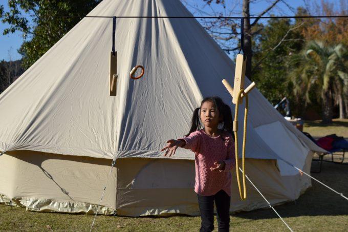 キャンプ 遊び 輪投げ