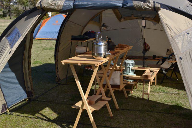 キャンプ テーブル 木製 カウンター バー キャンプ道具 キャンプ用品